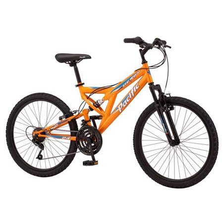 """Pacific Boys Derby Full Suspension Bicycle with 24"""" Wheels, Orange"""