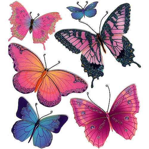 Jolees Boutique Butterflies Dimensional Stickers Multi-Colored