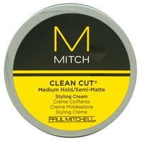 Mitch Clean Cut Medium Hold/Semi-Matte Hair Styling Cream for Men, 3 Oz