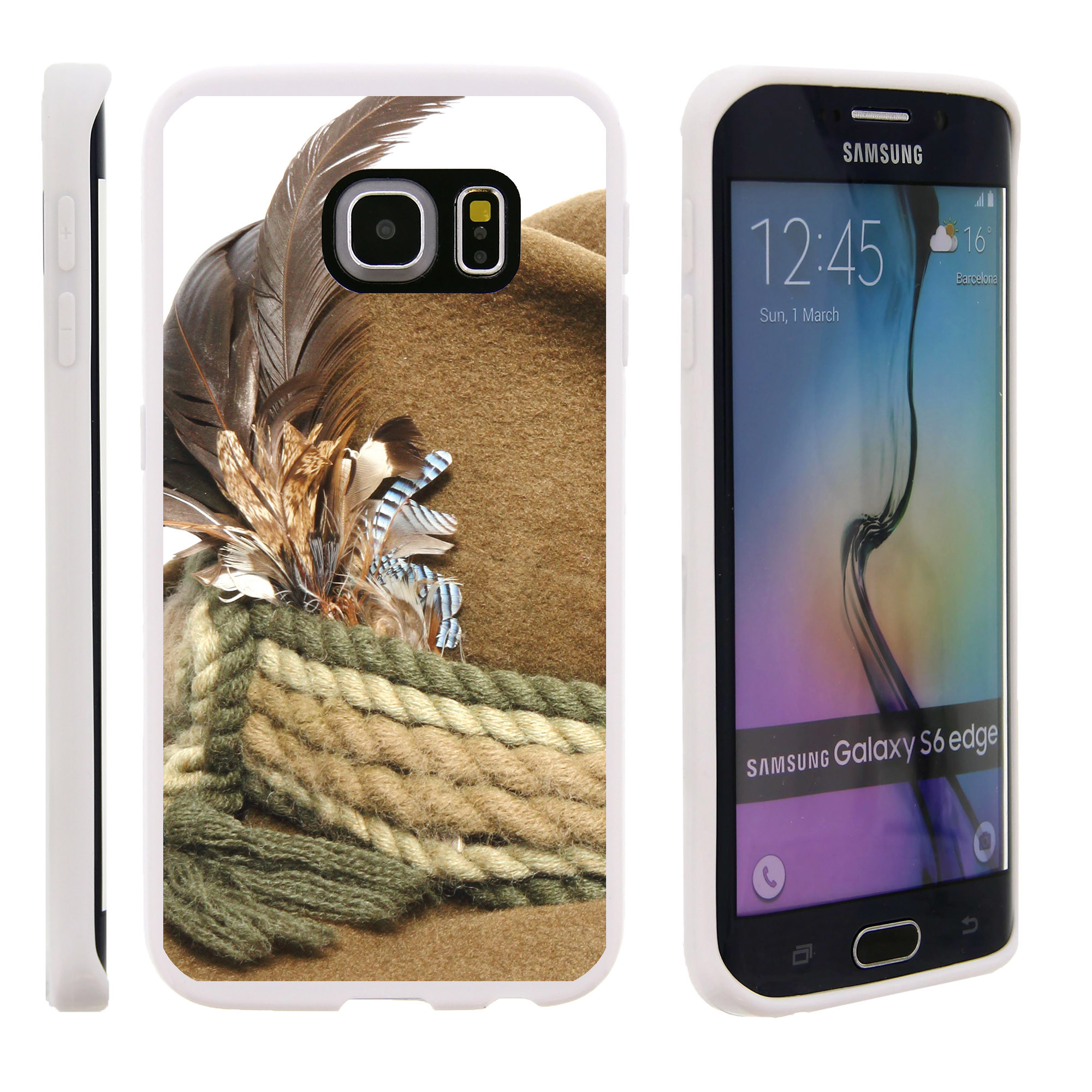 Samsung Galaxy S6 Edge G925, Flexible Case [FLEX FORCE] Slim Durable TPU Sleek Bumper with Unique Designs - Rope and Feathers