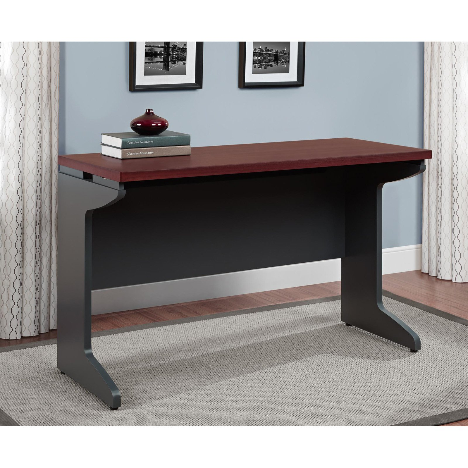 Ameriwood Home Pursuit Bridge Table, Cherry/Gray