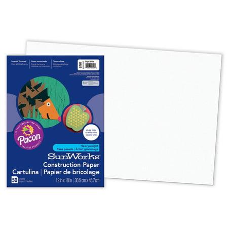 "Pacon® SunWorks® Construction Paper, 12"" x 18"", Bright White - 50 Sheets per pack, 5 packs"