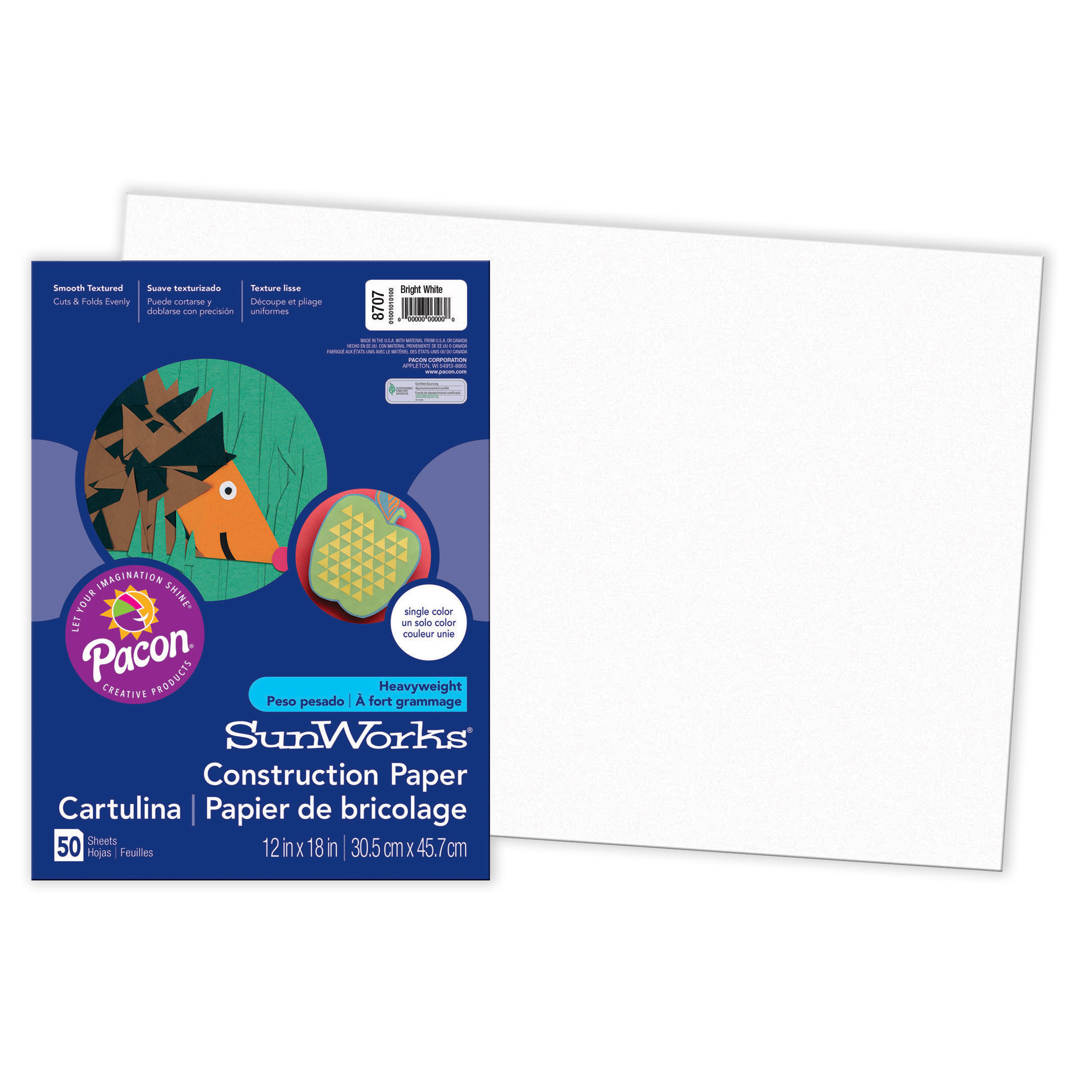 "Pacon® SunWorks® Construction Paper, 12"" x 18"", Bright White - 50 Sheets per pack, 5 packs"