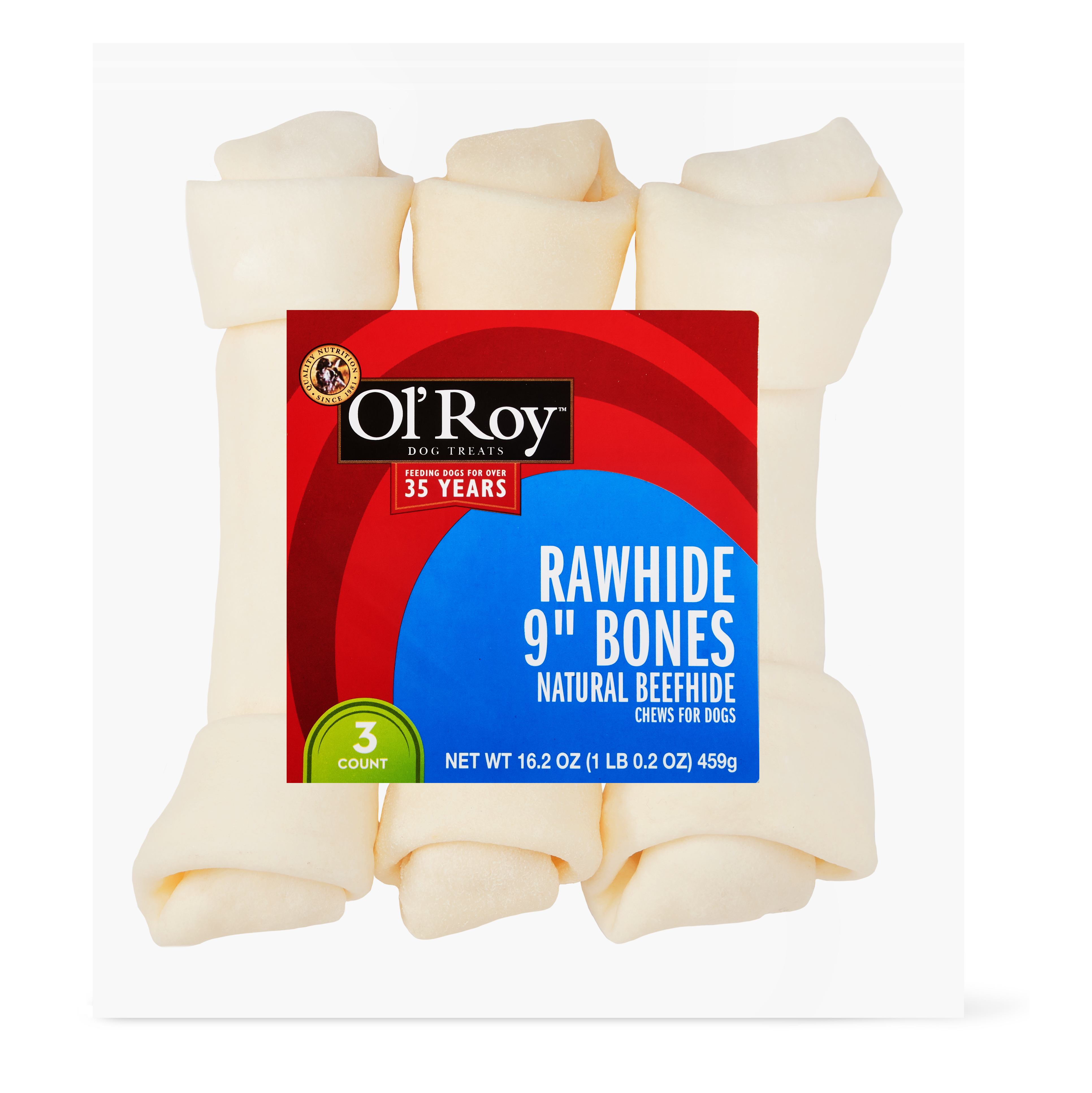 "Ol' Roy 9"" Rawhide Bones, Natural Beefhide, 3 Count"