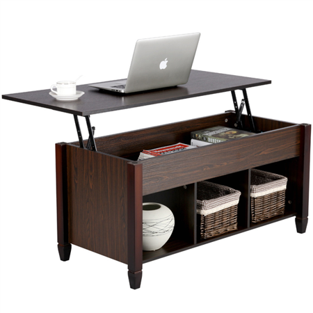 Modern Wood Lift Top Coffee Table with Hidden Compartment and Lower Shelf ()