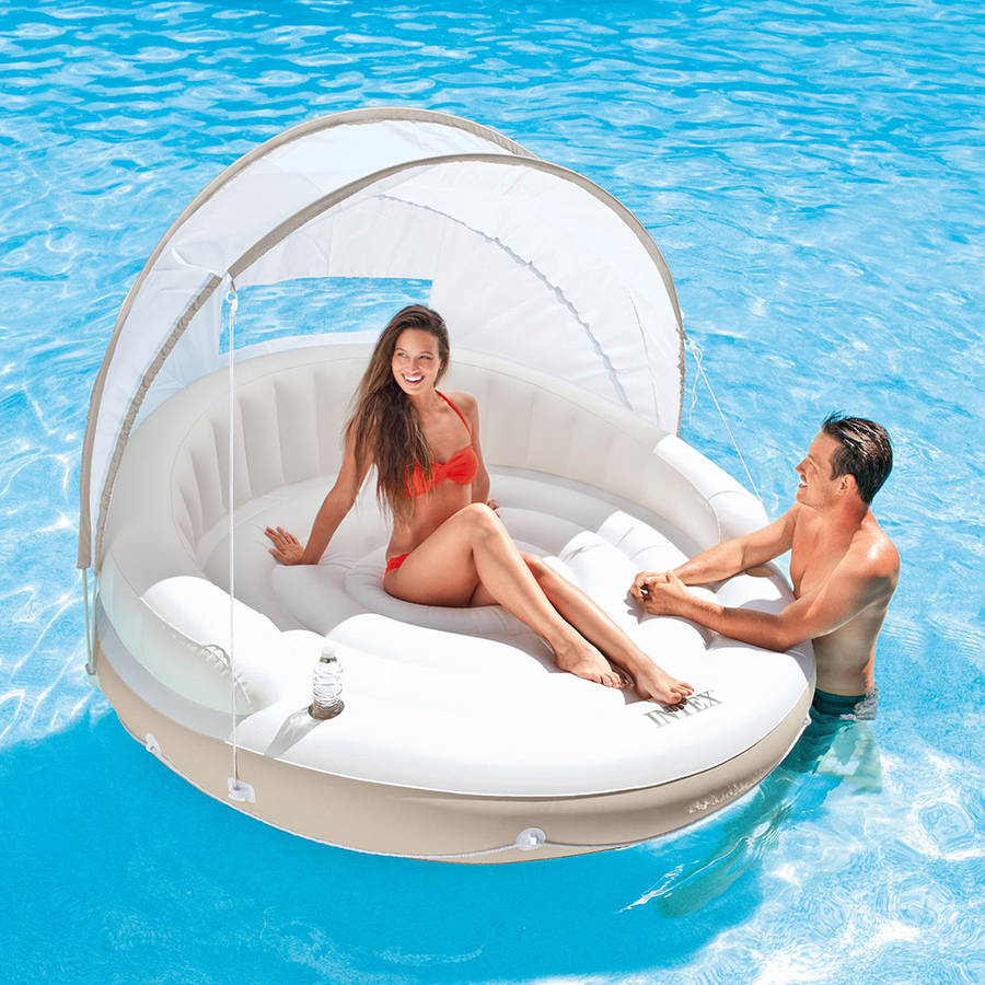 "Intex Inflatable Canopy Island Float Lounge, 78.5"" x 59"""