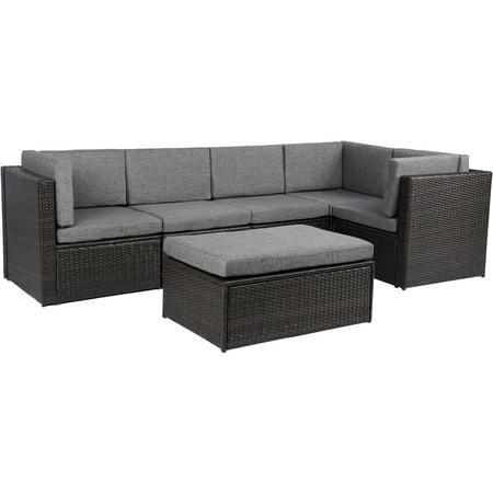 0587435aeb20 Baner Garden Outdoor Furniture Complete Patio Cushion PE Wicker Rattan  Garden Corner Sofa Couch Set,