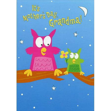 Designer Greetings Little Owl Giving Flower: Grandma Juvenile Mother's Day Card from Grandson](Mothers Day Cards For Grandma)