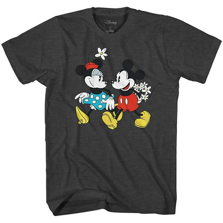 Adult Minnie Mouse Shirt (Disney Mickey Mouse Minnie Hand in Hand Disneyland World Retro Classic Vintage Tee Funny Humor Adult Mens Graphic T-Shirt)