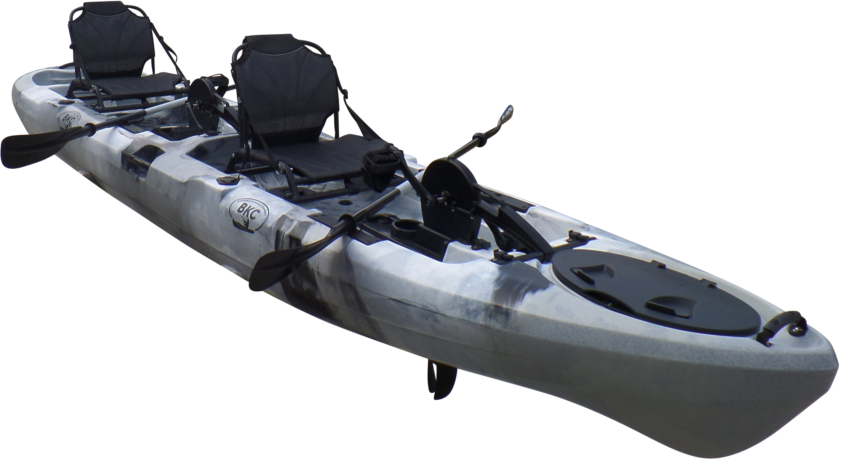 BKC UH-PK14 14 foot Sit On Top Tandem Fishing Pedal Drive Kayak Upright Seats included by Brooklyn Kayak Company