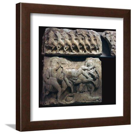 Frieze of Greek warriors in battle, 5th century BC Framed Print Wall Art