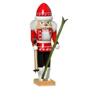 KWO Red Skier German Wood Christmas Nutcracker Decoration Made Germany