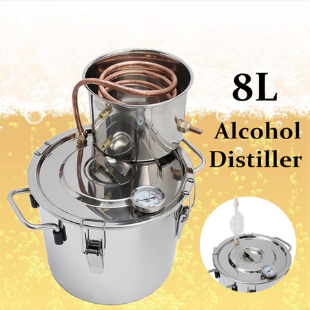 2/5/8/13 Gal 8L/12L/ 20L/30L/50L Boiler Distiller Distilled Alcohol Beer Wine Water Moonshine Still Stainless Steel Copper Spirits Equipment For Home Brew Distilling Making