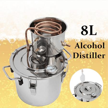 2/5/8/13 Gal 8L/12L/ 20L/30L/50L Boiler Distiller Distilled Alcohol Beer Wine Water Moonshine Still Stainless Steel Copper Spirits Equipment For Home Brew Distilling Making