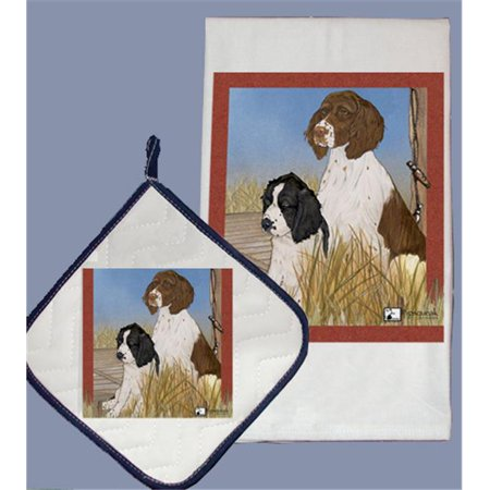 Pipsqueak Productions DP921 Dish Towel and Pot Holder Set - English Springer Spaniel
