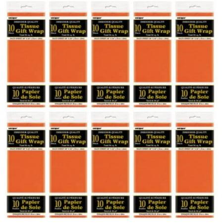 (10 Pack) Tissue Paper Sheets, 26 x 20 in, Orange, (12 Orange Tissue)