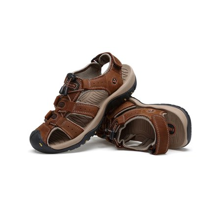 Men's Hiking Closed Toe Adjust Lock Lace Flat Sport Slip On Leather Sandals ()