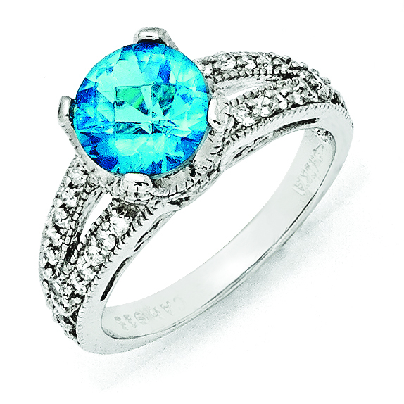 Cheryl M Sterling Silver Checker-cut Glass Simulated Blue Topaz & CZ Ring
