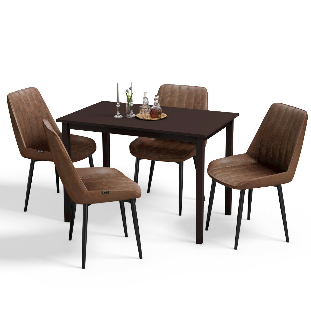 Gymax 5 Piece Dining Set Table and 4 Padded Seat Chairs ...