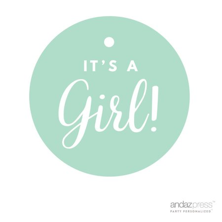 Mint Green It´s A Girl! Striped Circle Baby Shower Gift Tags, - Striped Tag