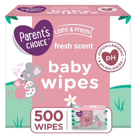 Parents Choice Light & Fresh Baby Wipes, 5 Flip-Top Packs (500 Total Wipes)