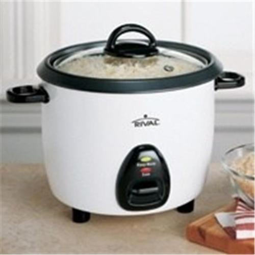 Rival 10 Cup Rice Cooker with Steaming Basket, White and Black (2-Pack)