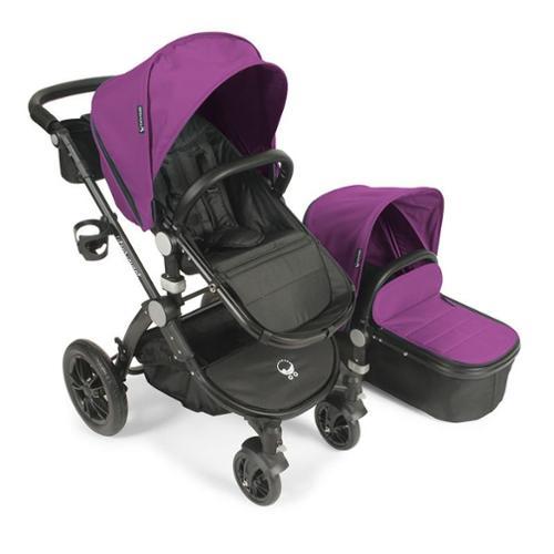 Babyroues letour avant stroller w/bassinet black frame plum fabric