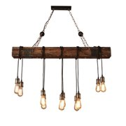 46'' Chandelier Wooden Retro Rustic Pendant Light Industrial Lighting Distressed Wood Chandelier for Dining Table Vintage Kitchen, Bar, Island, Billiard.(10 E26 Bulbs not Included)