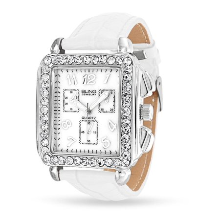 Deco Style White Crystal Square Dial Face Wrist Watch For Women Faux White Crocodile Leather Band Steel Back (Stainless Steel Square Face Watch)