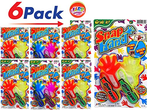 Prank Gag JA-RU Sticky Hands Stretchy Snap Smak Toys Bulk Toys Great Sticky Hand Party Favors Birthday Toy Supplies for Kids Goody Bags 315-12s Stocking Stuffers 12 Packs