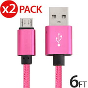2x Micro USB Cable Charger For Android, FREEDOMTECH 6ft USB to Micro USB Cable Charger Cord High Speed USB2.0 Sync and Charging Cable for Samsung, HTC, Motorola, Nokia, Kindle, MP3, Tablet and More
