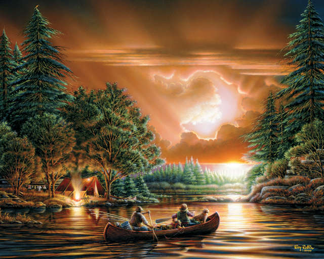 "Jigsaw Puzzle Terry Redlin 1000 Pieces 24""X30""-Evening Rendezvous by White Mountain Puzzles"
