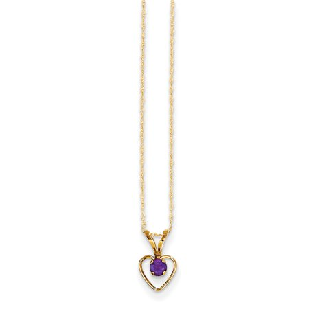 14kt Yellow Gold 3mm Purple Amethyst Heart Birthstone Chain Necklace Pendant Charm Gemstone Kid Fine Jewelry Ideal Gifts For Women Gift Set From Heart