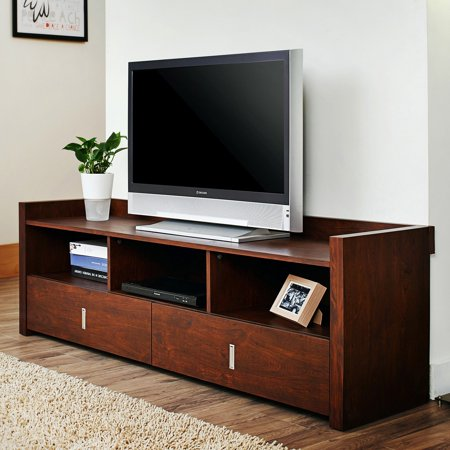 (Furniture of America Helenza 60 in. Vintage Walnut Entertainment TV Stand)