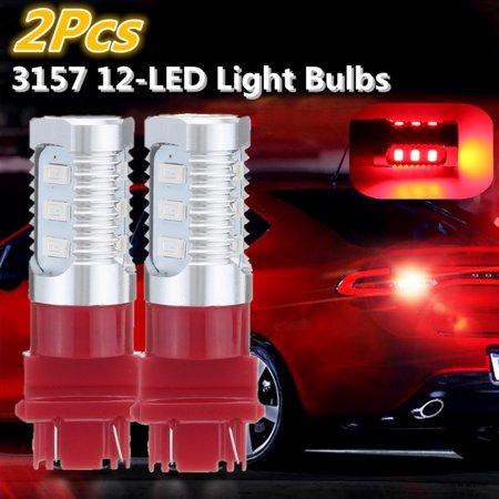 2pcs Universal 3157 LED Flashing Strobe Blinking Red Rear Brake Tail Stop Lights