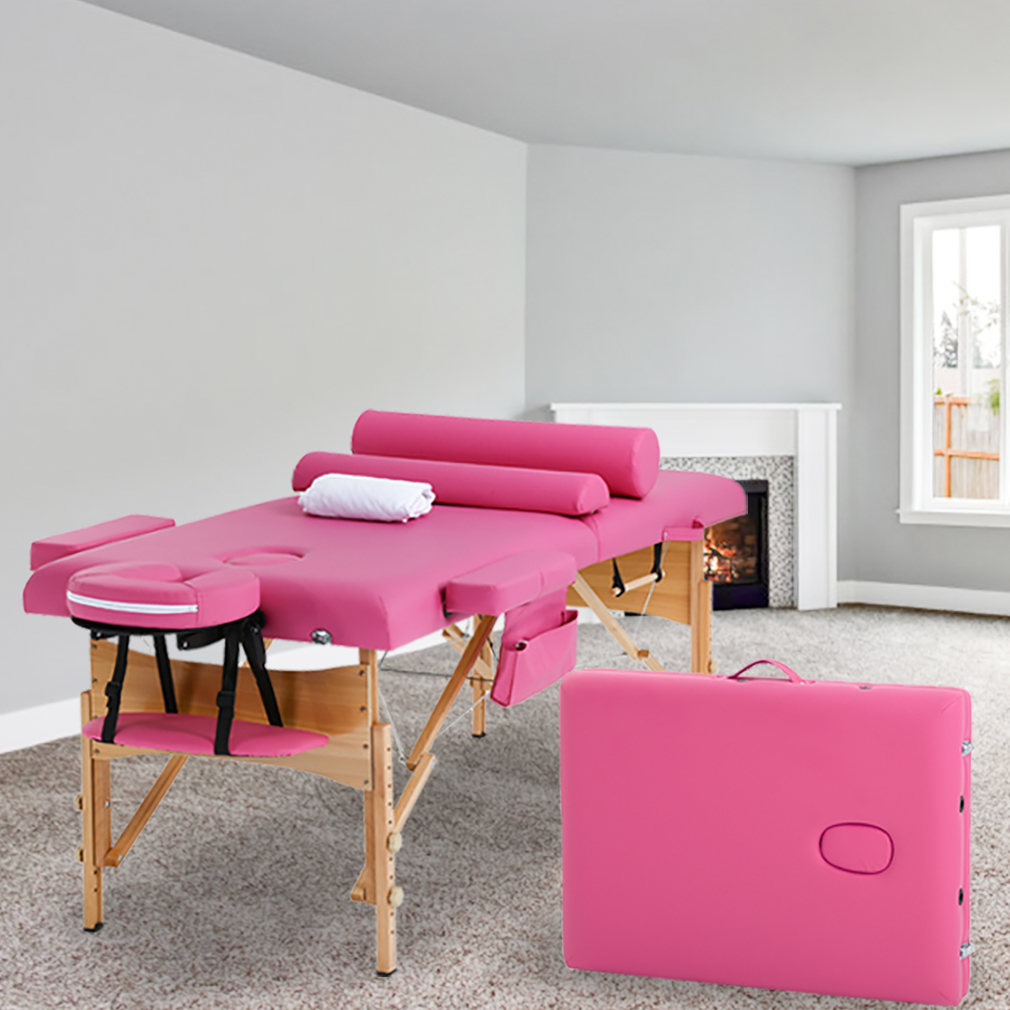 "Massage Table Massage Bed Spa Bed Height Adjustable 2 Fold Portable 73"" Massage Table W/Sheet Cradle Cover 2 Bolster Hanger Facial Salon Tattoo Bed"