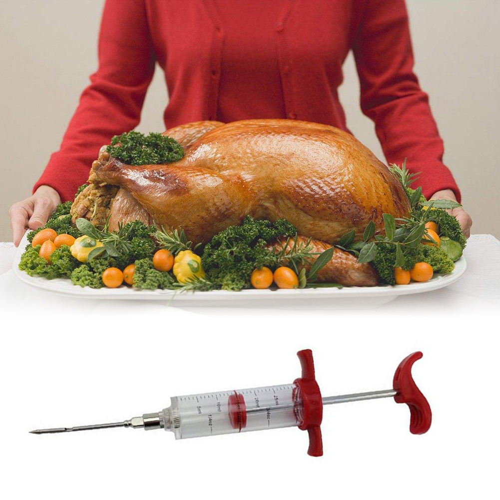 Anglebless BBQ Meat Syringe Marinade Injector Poultry Turkey Chicken Flavor Syringe Cooking Sauce Injection Tool Kitchen Accessories