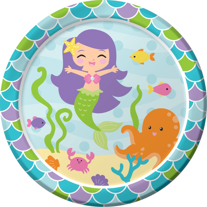 Mermaid Friends Plates, 8pk