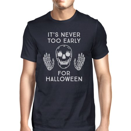 It's Never Too Early For Halloween T-Shirt Mens Navy Skull Shirt (It's Almost Halloween)