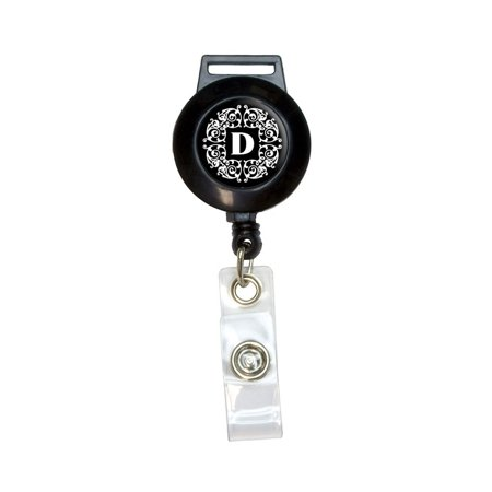 Letter D Initial Black and White Scrolls Retractable Badge Card ID Holder