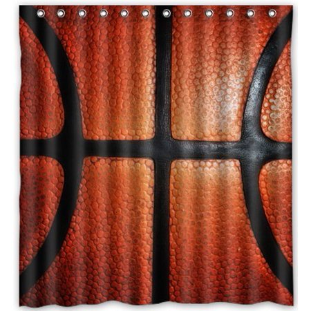 HelloDecor Basketball Shower Curtain Polyester Fabric Bathroom Decorative Size 66x72 Inches