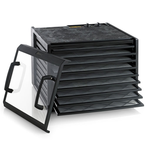 Excalibur 3926TCDB Dehydrator 9-Tray Clear Door w/ Timer in Black + Preserve It Naturally Book + Paraflexx Reusable Shee