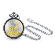 Two Tone Elk Reindeer Deer Mens Pocket Watch For Men For Hunter Matt Gold Silver Tone Plated Alloy With Chain