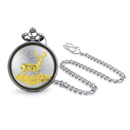Two Tone Deer Mens Pocket Watch Antiqued Finish Gold Plated - Clip Gold Pocket Watch