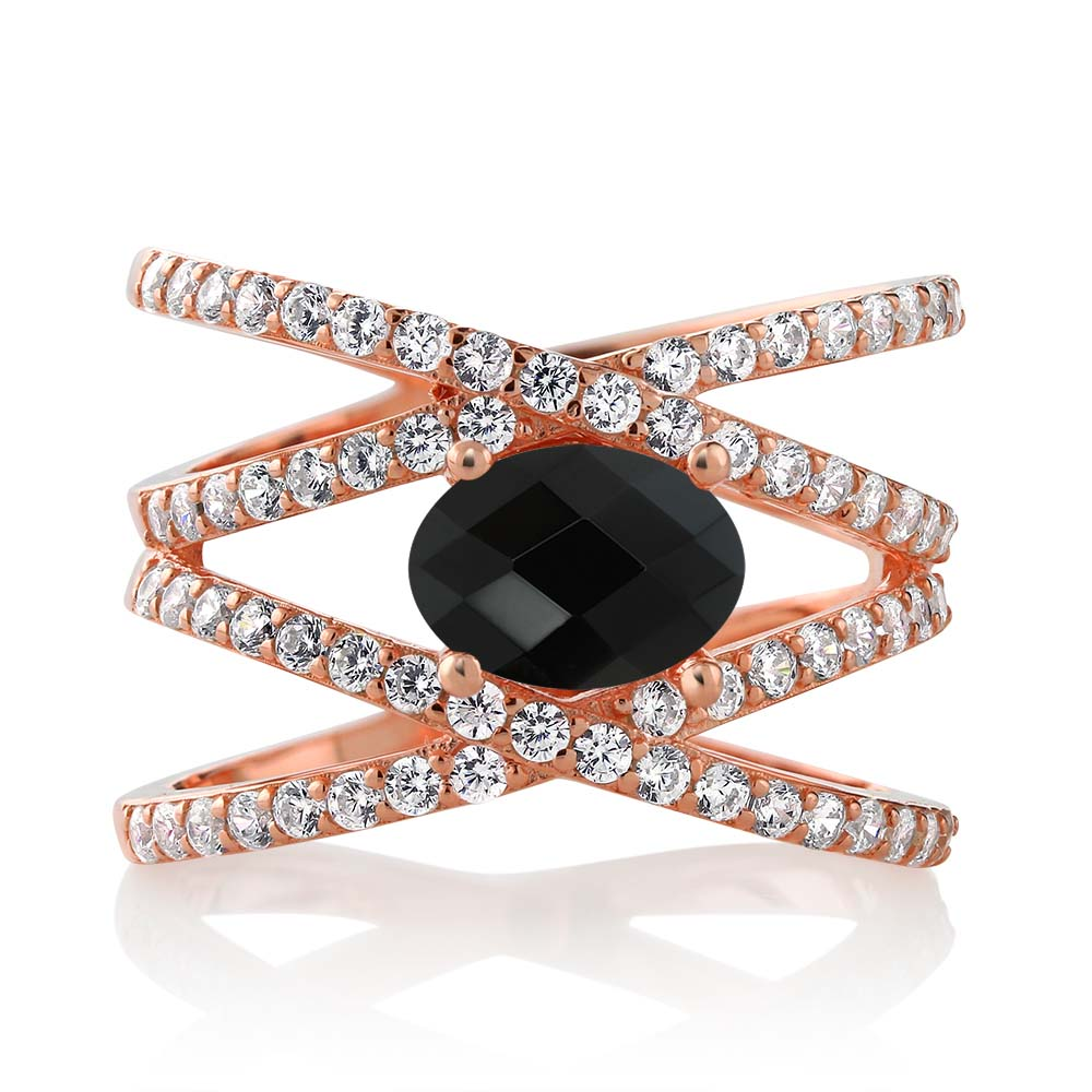 2.05 Ct Oval Checkerboard Black Onyx 18K Rose Gold Plated Silver Ring