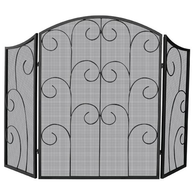 3 Panel Black Wrought Iron Screen With Decorative Scroll - image 1 of 1