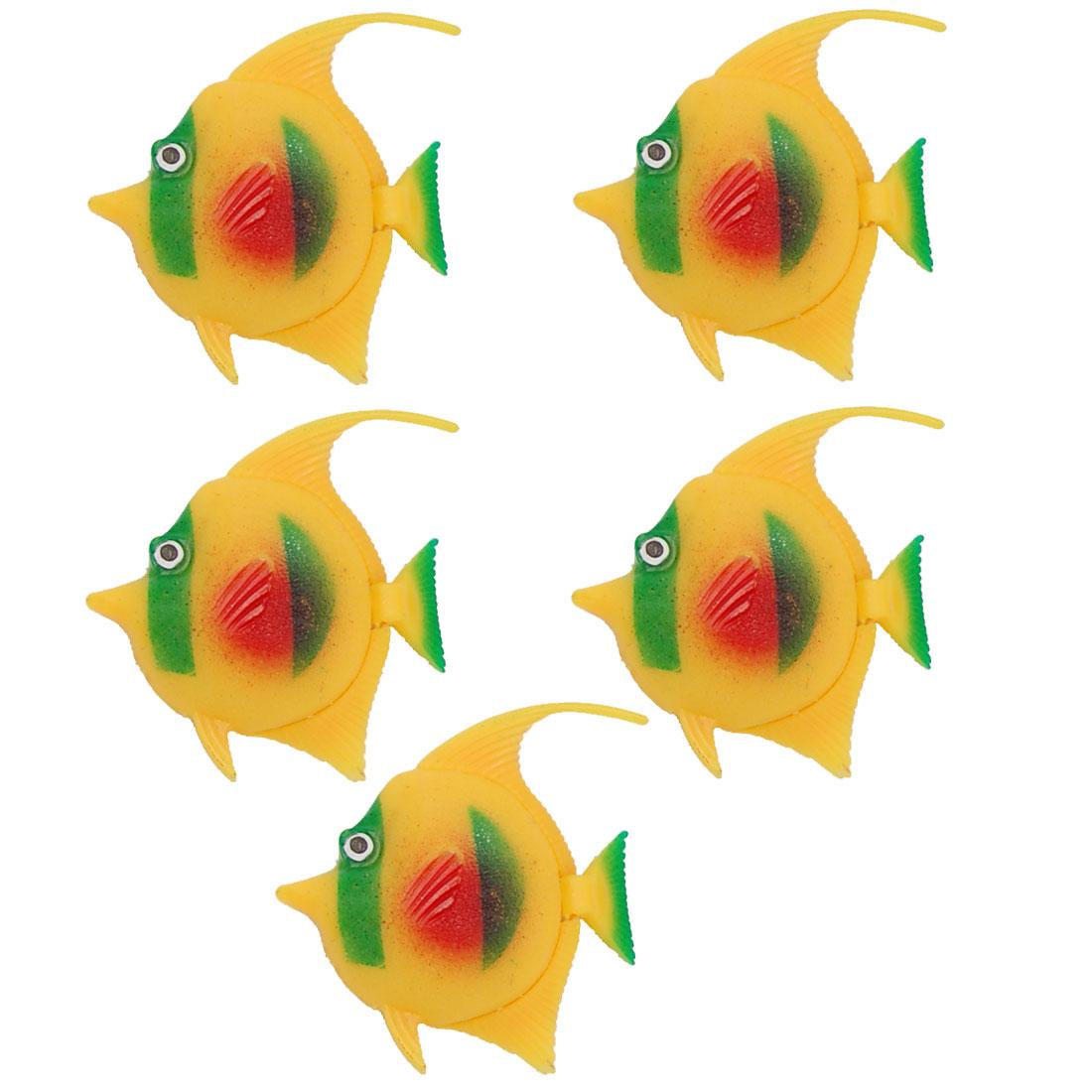 Unique Bargains Aquarium Plastic Lively Floating Yellow Fish Ornament