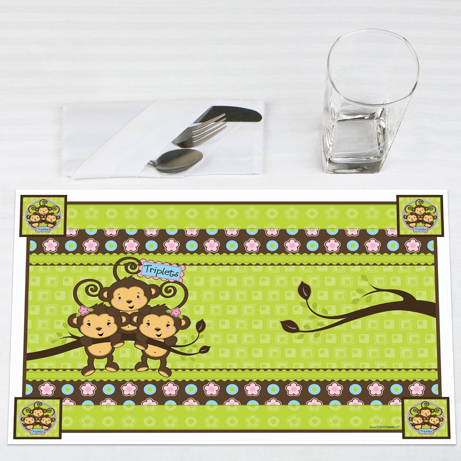 Triplet Monkeys 2 Girls & 1 Boy Party Placemats Set of 12 by Big Dot of Happiness, LLC