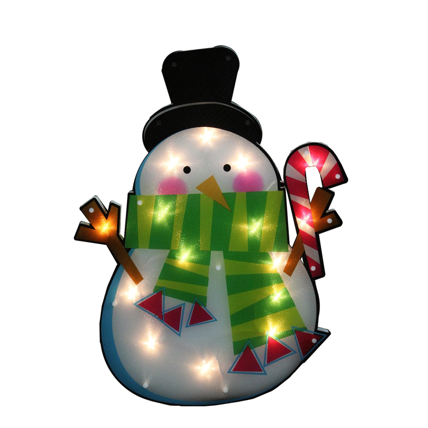 "23.75"" Lighted Shimmering Snowman with Candy Cane Christmas Window Silhouette Decoration"