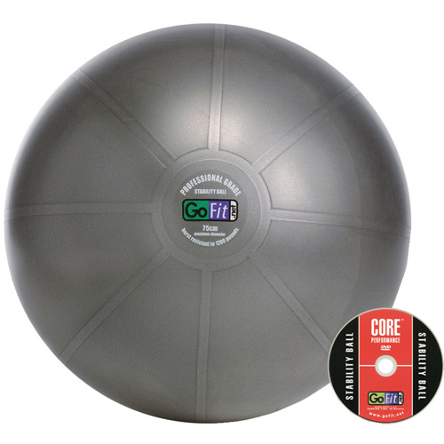 GoFit 75cm Professional Stability Ball and Core Performance Training DVD